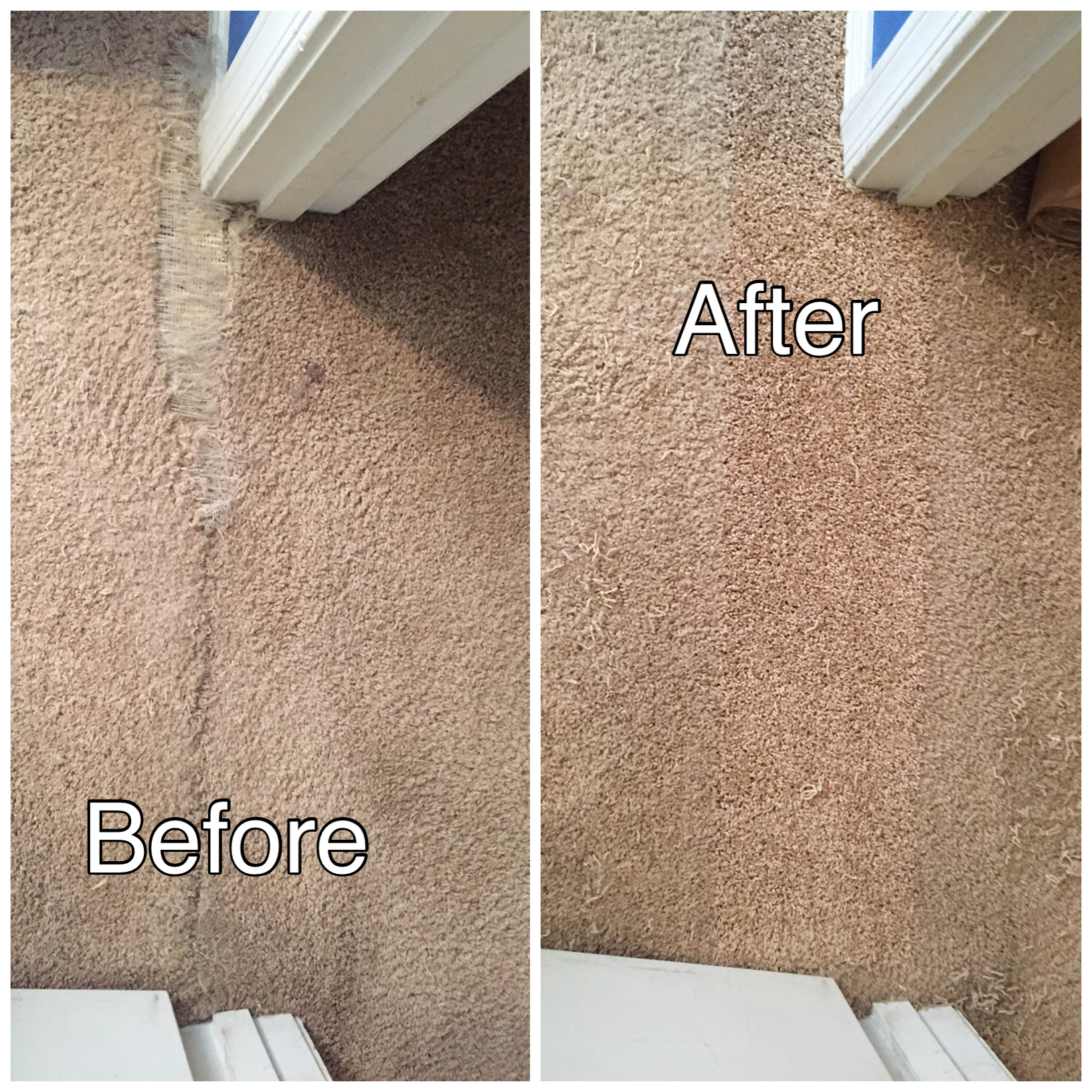 before and after carpet repair